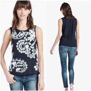 Lucky Brand Embroidered Paisley Tank Top